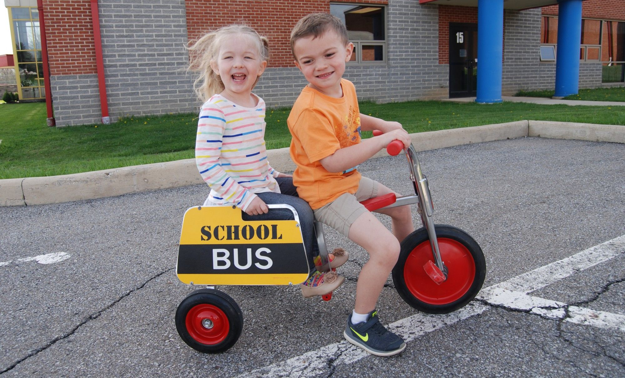 girl, boy, bike, prek, mansfield christian school, mansfield, ohio