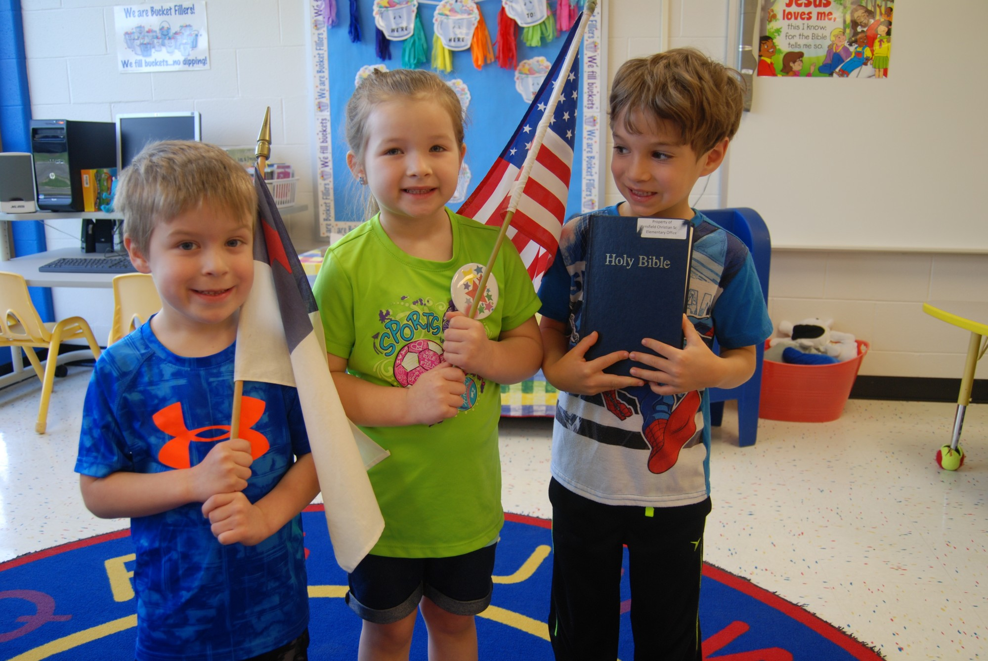 kids, classroom, flags, bible, prek, mansfield christian school, mansfield, ohio